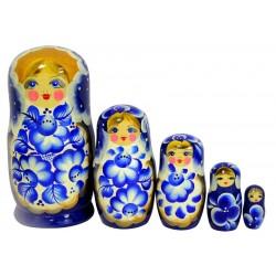 Matriochka Gjel, Traditionnelle - Classique, 5 pièces, hauteur 17-19 cm