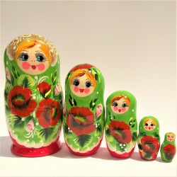 Matriochka Traditionnelle - Classique, 5 pièces, hauteur 14 -16 cm