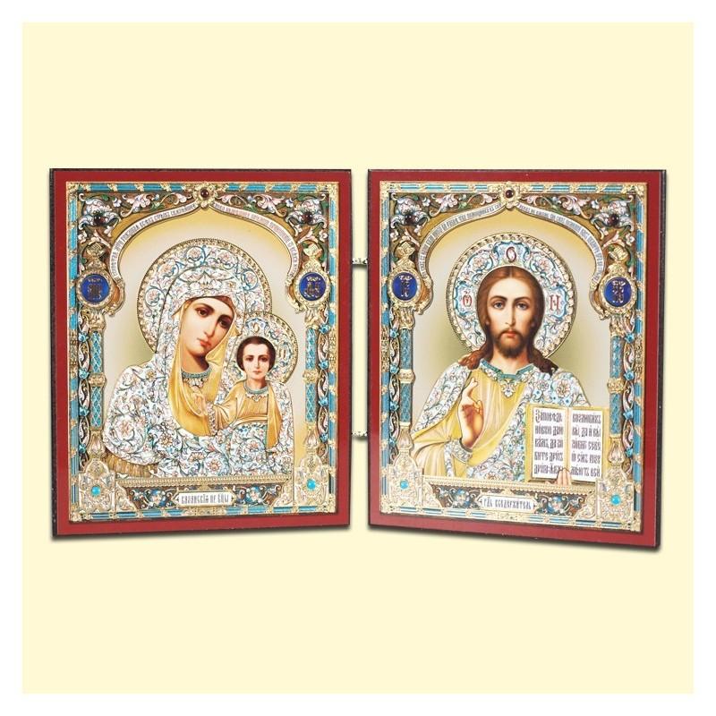 Icône Orthodoxe - Double : La Vierge de Kazan et Jésus Christ,  13x22 cm