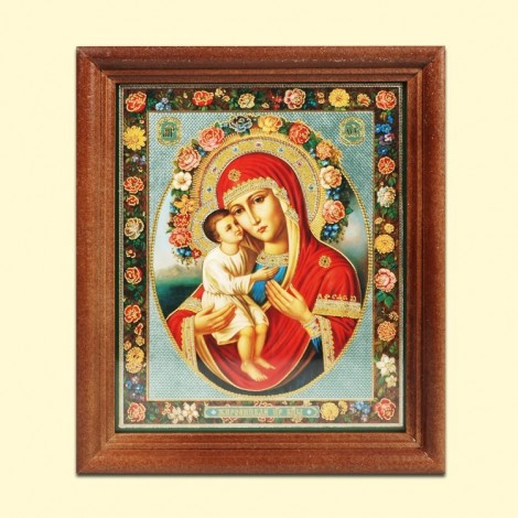 Icône Orthodoxe - La Mère de Dieu Zhirovitskaya, 13x11 cm