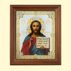 Icône Orthodoxe - Christ Pantocrator, 13x15 cm