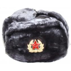 Chapeau-Chapka-Oushanka Russe Militaire avec l'insigne , en fourrure synthétique