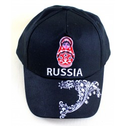 """Casquette """"Russie"""" avec Matriochka, couleur noir, Taille Unique ."""