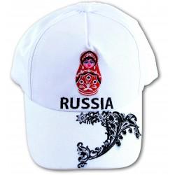 "Casquette ""Russie"" avec Matriochka, la couleur blanche, Taille Unique ."