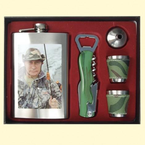 Flasque , Fiole - Putin dans l'emballage avec entonnoir et 4 verres
