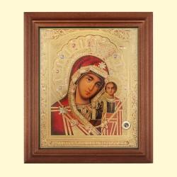 Icône Orthodoxe - La Vierge de Kazan, Notre-Dame de Kazan, 13x15 cm