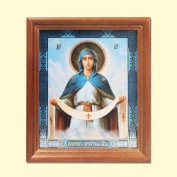 Icône Orthodoxe - Intercession de la Mère de Dieu, 13x15 cm