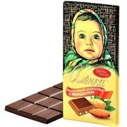 "Chocolat au lait ""Alionka"" aux amandes, 100 gr / Молочный шоколад «Аленка» с миндалем 100г"
