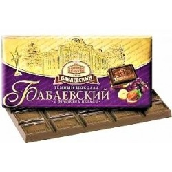 Chocolat aux amandes et aux raisins, 100 gr / Шоколад «Бабаевский» фундук и изюм, 100г
