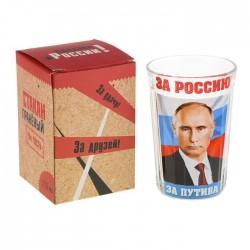 """Стакан граненый """"За Россию, за Путина"""", 250 мл"""