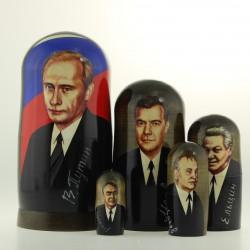 Matriochka Personnalités, Putine, 5 pièces, hauteur 18.5 cm