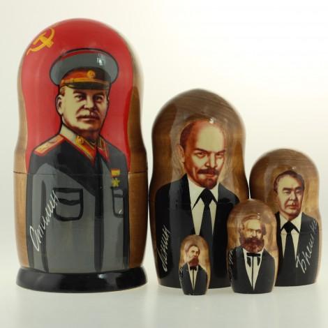 Matriochka Personnalités, Staline, 5 pièces, hauteur 18.5 cm