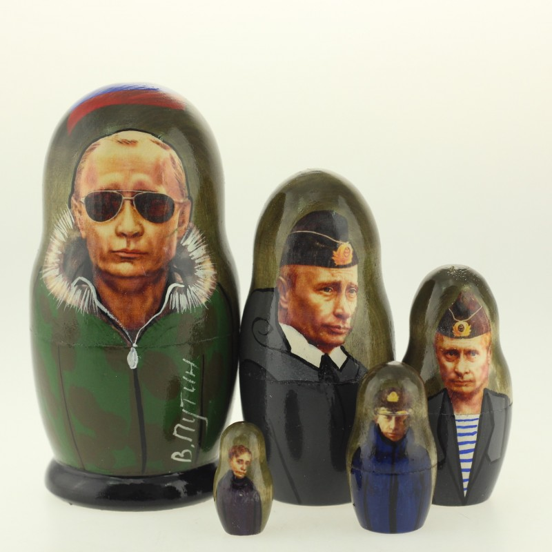 Matriochka Personnalités, Poutine, 5 pièces, hauteur 10.5 cm