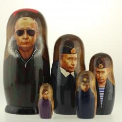 Matriochka Personnalités, Poutine, 5 pièces, hauteur 18.5 cm