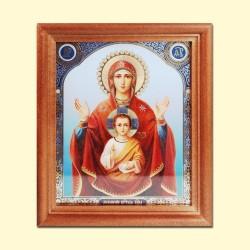 Икона Божией Матери «Знамение» 13x15 см, деревянная рама, двойное тиснение
