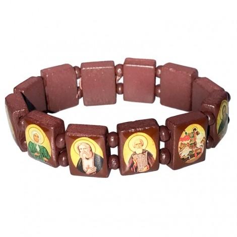 Bracelet religieux en bois avec icônes orthodoxes russe