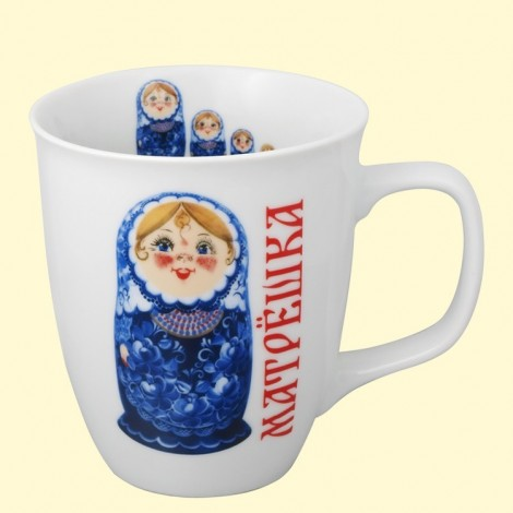 "Mug Matriochka Gjel/Кружка ""Матрёшка в синем"" 0,4л"