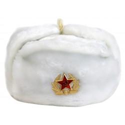 Chapeau-Chapka-Oushanka Russe Militaire avec l'insigne en fourrure synthetique