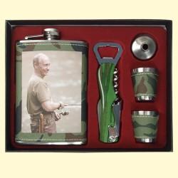 Flasque , Fiole - Putin dans l'emballage avec entonnoir et 2 verres