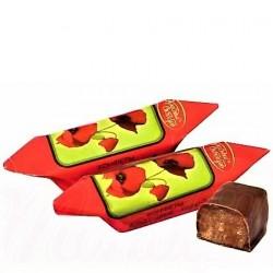 """Confiserie fondante """"Le Pavot rouge"""" enrobée de glaçage au cacao , 100 gr"""