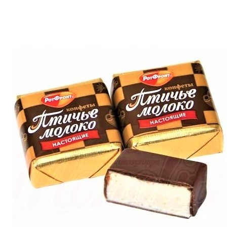 """Сhamallow """"Lait d'oiseaux"""" à la crème de vanille enrobée de glaçage au cacao , 100 gr/Конфеты """"Птичье молоко"""""""